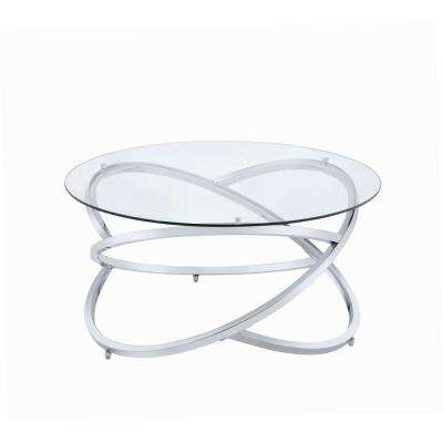 Marlon Chrome and Clear Glass Coffee Table