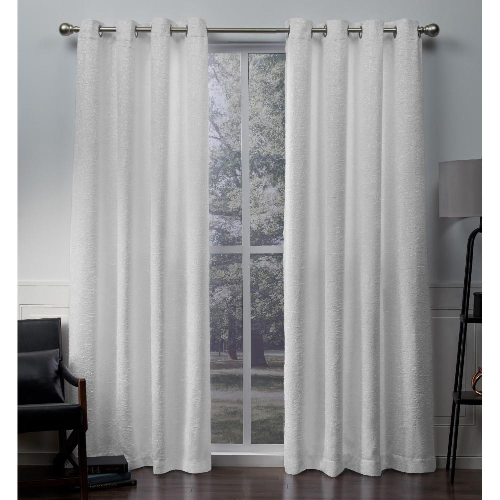 Criss Cross Winter White Eyelash Chenille Grommet Top Window Curtain