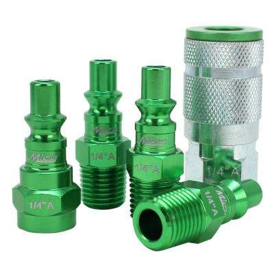 ColorFit by Milton Coupler & Plug Kit - (A-Style, Green) - 1/4 in.  NPT, (5-Piece)