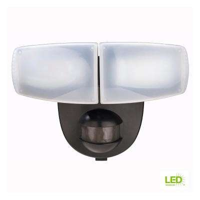 180 Degree Black Motion Activated Outdoor Integrated LED Twin Head Battery Powered Flood Light