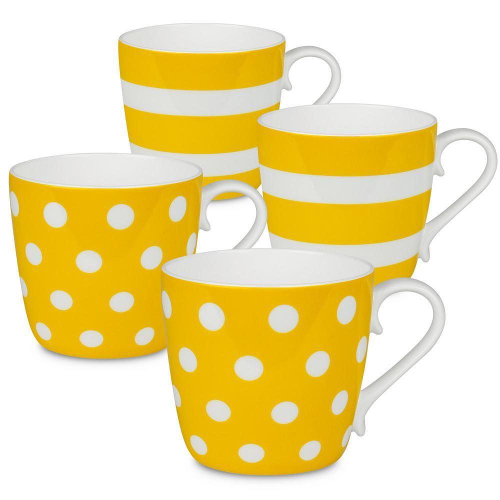 Konitz 4-Piece Assorted Polka Dots and Stripes Sun Bone China Mug Set