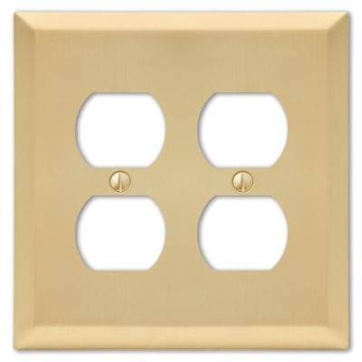 Metallic 2 Gang Duplex Steel Wall Plate - Satin Brass