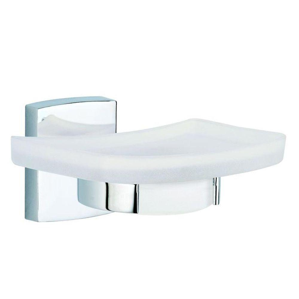 No Drilling Required Klaam Wall Mount Soap Dish Holder With Frosted Gl In Chrome