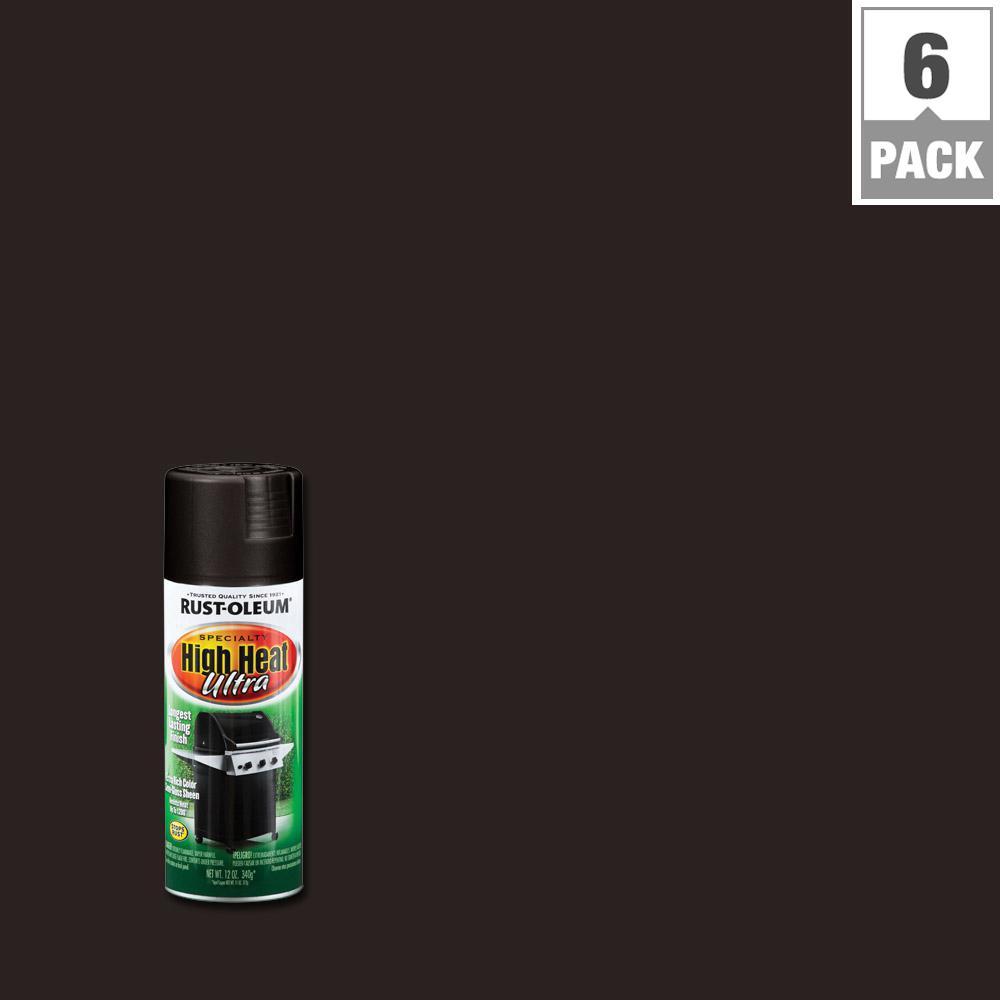 12 oz. Black High Heat Ultra Spray Paint (6-Pack)