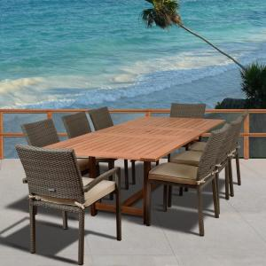 Click here to buy Amazonia Knight 9-Piece Teak/Wicker Rectangular Outdoor Dining Set with Off-White Cushions by Amazonia.