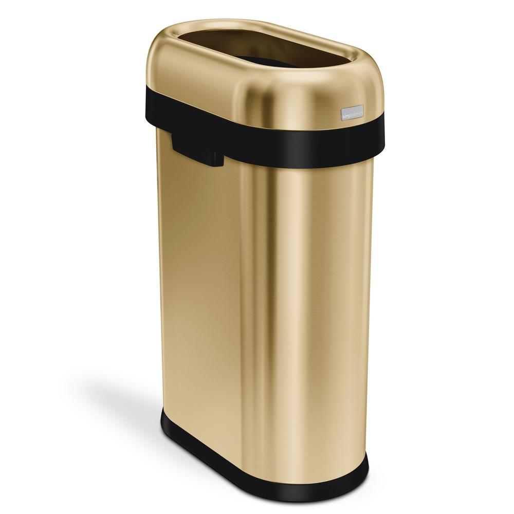 simplehuman 13 Gal. Heavy-Gauge Stainless Steel Slim Open Top Commercial  Trash Can in Brass