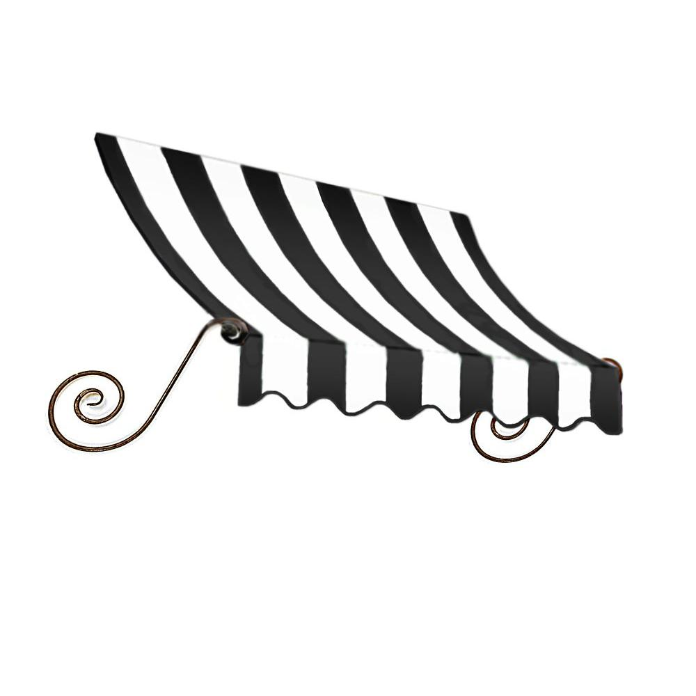 AWNTECH 3 ft. Charleston Window Awning (44 in. H x 24 in. D) in Black/White Stripe