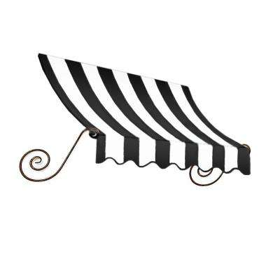 4 ft. Charleston Window Awning (56 in. H x 36 in. D) in Black/White Stripe