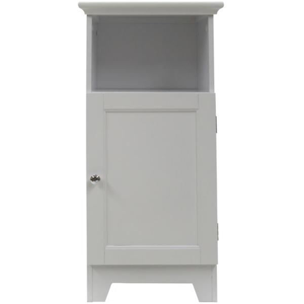 Contemporary Country 13.5 in. W x 11.75 in. D x 27.5 in. H Free Standing Single Door Cabinet With Shaker Panels in White