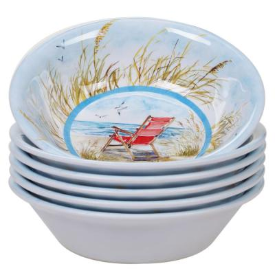 Ocean View 6-Piece Multi-Colored 7.5 in. x 2 in. All Purpose Bowl Set