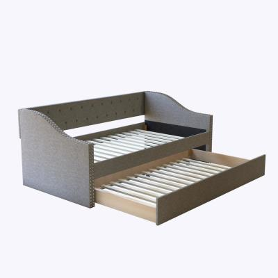 Zephyr Contemporary Upholstered Grey Linen Twin Size Daybed with Trundle