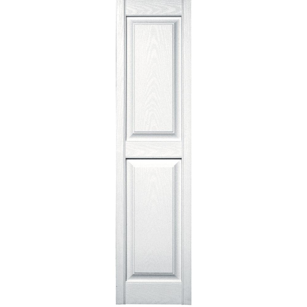 Builders Edge 15 in. x 59 in. Raised Panel Vinyl Exterior Shutters Pair in #001 White