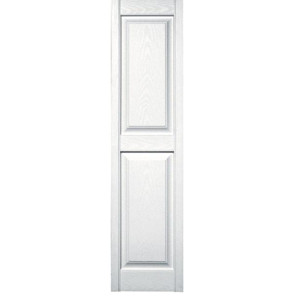 Builders Edge 15 In X 59 In Raised Panel Vinyl Exterior Shutters Pair In 001 White 030140059001 The Home Depot