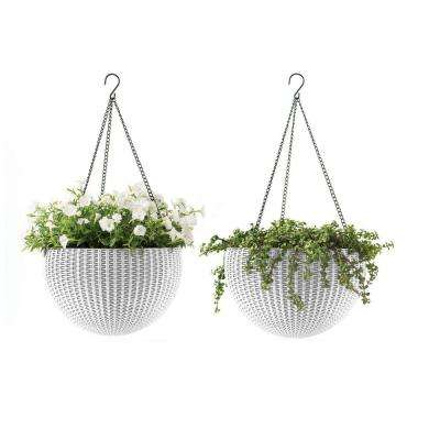 13.8 in. Dia White Resin Hanging Rattan Planter (2-Pack)