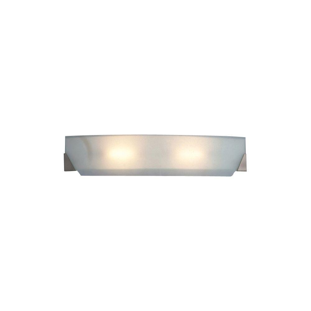 PLC Lighting 2-Light Polished Chrome Bath Vanity Light with Acid Frost Glass