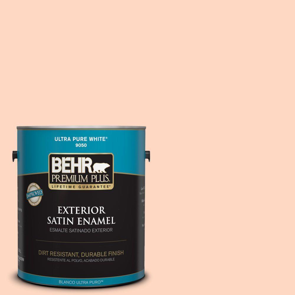 BEHR Premium Plus 1-gal. #240A-2 Sunkissed Peach Satin Enamel Exterior Paint