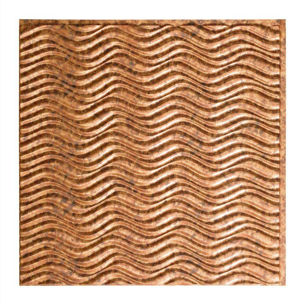 Fasade Current Horizontal - 2 ft. x 2 ft. Glue-up Ceiling Tile in Cracked Copper