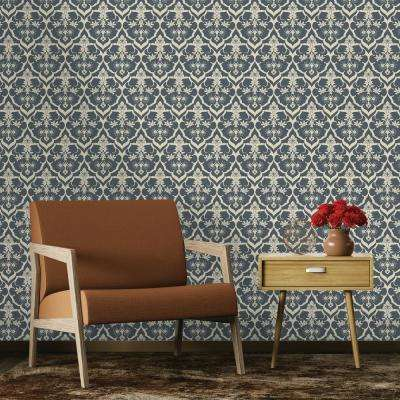 Repeel Damask Navy and Cream Removable Wallpaper