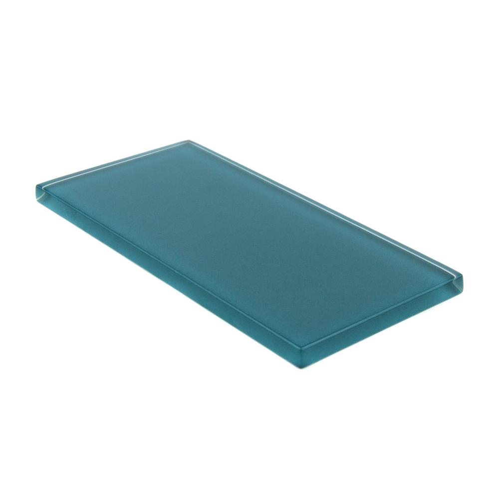 Giorbello Dark Teal Subway Glass Backsplash And Wall Tile 3 In X