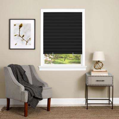1-2-3 Black Cordless Vinyl Room Darkening Pleated Shade - 36 in. W x 75 in. L