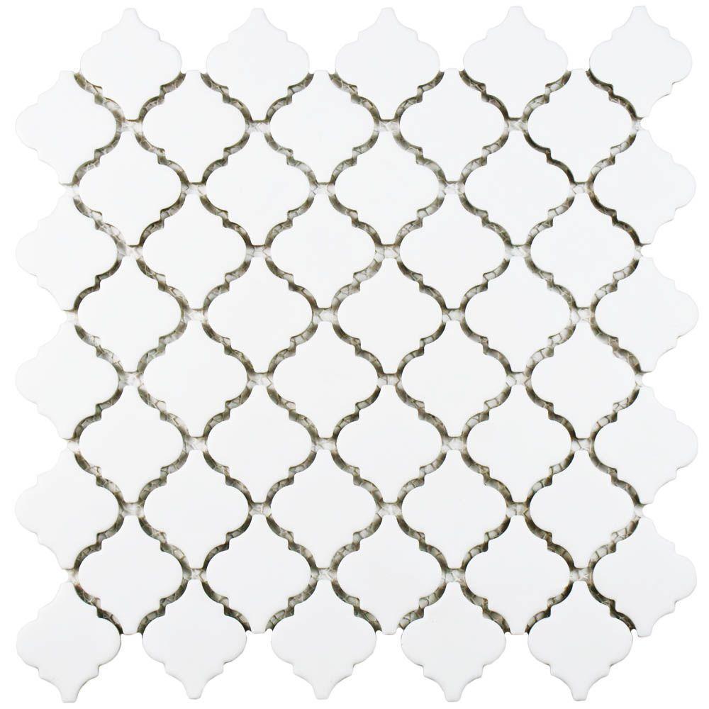 Hudson Tangier Matte White 12-3/8 in. x 12-1/2 in. x 5 mm Porcelain Mosaic Tile