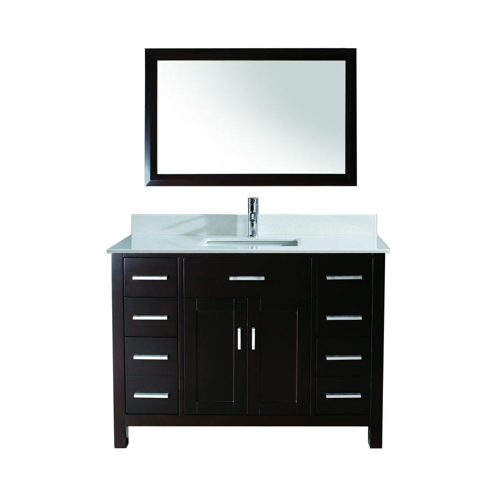 Studio Bathe Kalize 48 in. Vanity in Espresso with Solid Surface Marble Vanity Top in Carrara White and Mirror
