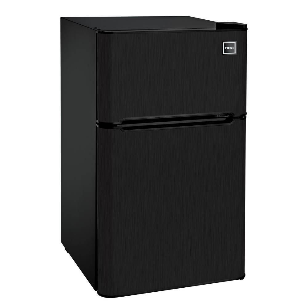 RCA 3.2 cu. ft. 2 Door Mini Fridge in Black Stainless Steel