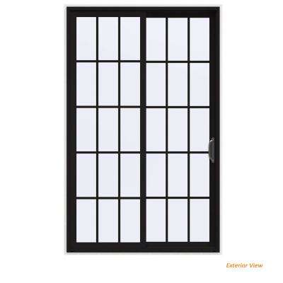 60 in. x 96 in. V-4500 Contemporary Black Painted Vinyl Right-Hand 15 Lite Sliding Patio Door w/White Interior