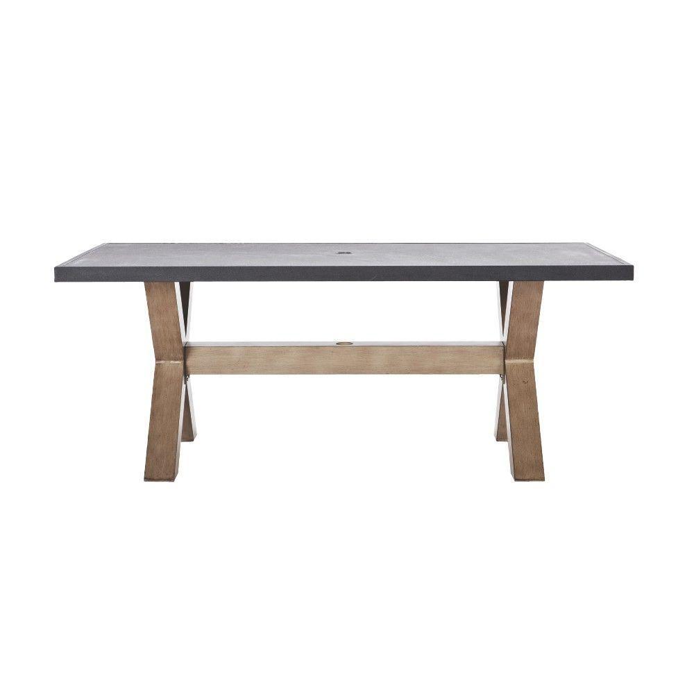 Home Decorators Collection Naples Natural Rectangular Metal And - Rectangular metal patio dining table