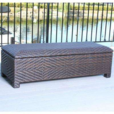 Wing 18 in. Multi-Brown Wicker Outdoor Bench