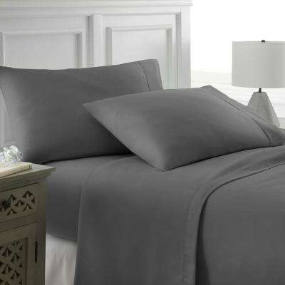 Performance Gray California King 4-Piece Bed Sheet Set