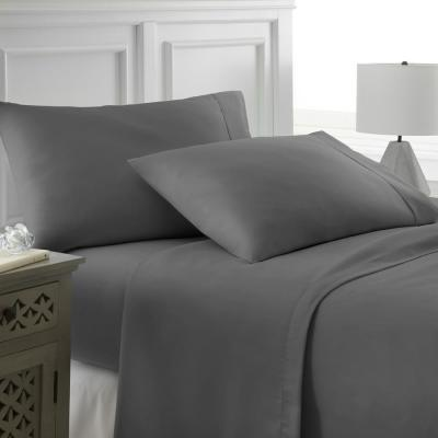 4-Piece Gray Solid Microfiber 300 Thread Count King Sheet Set