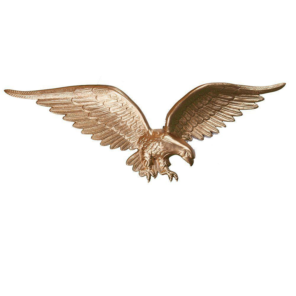 Montague Metal Products 24 in. Gold Bronze Wall Eagle Montague Metal Products wall eagles are hand crafted and sand cast in Montague, Michigan. All castings are made of rust resistant repurposed aluminum, hand finished and coated with a weather resistant paint to insure a lifetime of enjoyment. These eagles have an approximately 24 in. wingspan and stand 8 in. tall with an approximate depth of 2 in. to 3 in.