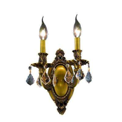 2-Light French Gold Sconce with Clear Crystal