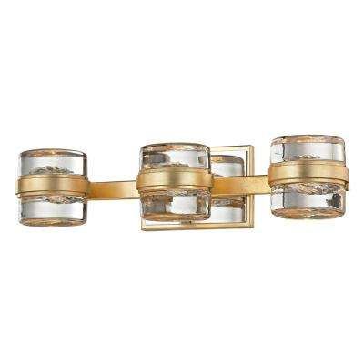 Splash 3-Light Gold Leaf 18.25 in. W LED Bath Light with Polished Chrome Accents and Clear Pressed Glass Shade