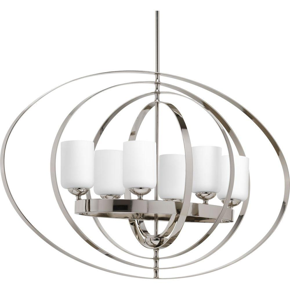 Progress Lighting Equinox 6 Light Polished Nickel Orb Chandelier With Opal Etched Gl
