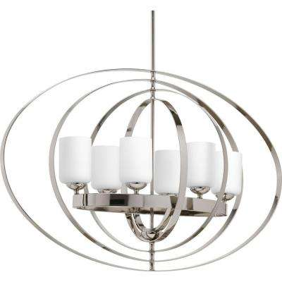 Equinox 6-Light Polished Nickel Orb Chandelier with Opal Etched Glass