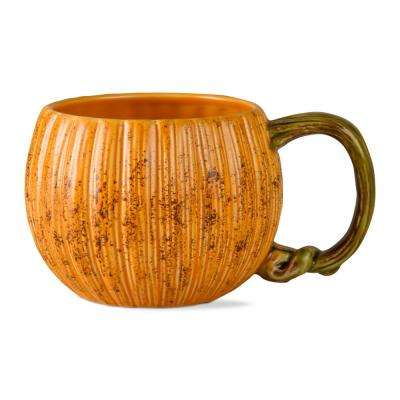 20 oz. Orane and Green Oversized Rustic Stoneware Pumpkin Mug