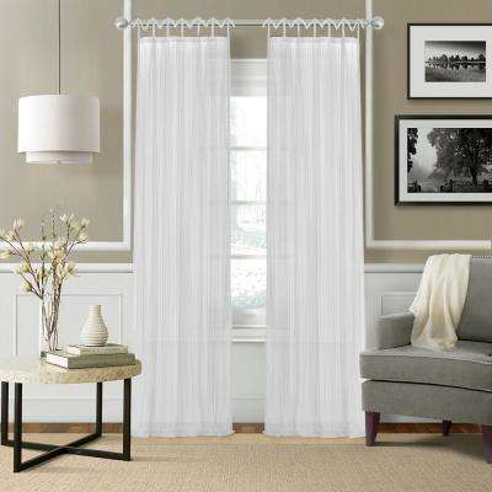 Greta 52 in. W x 95 in. L Polyester Sheer Window Curtain PaneL in White