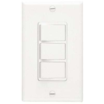 Three 15 Amp (20 Amp Total) 3-Function Single Pole Rocker Switch Wall Control in White