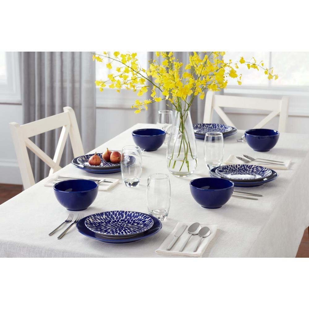 Rosaline 16-Piece Hand-Decorated Twilight Blue Stoneware Dinnerware Set (Service for 4)