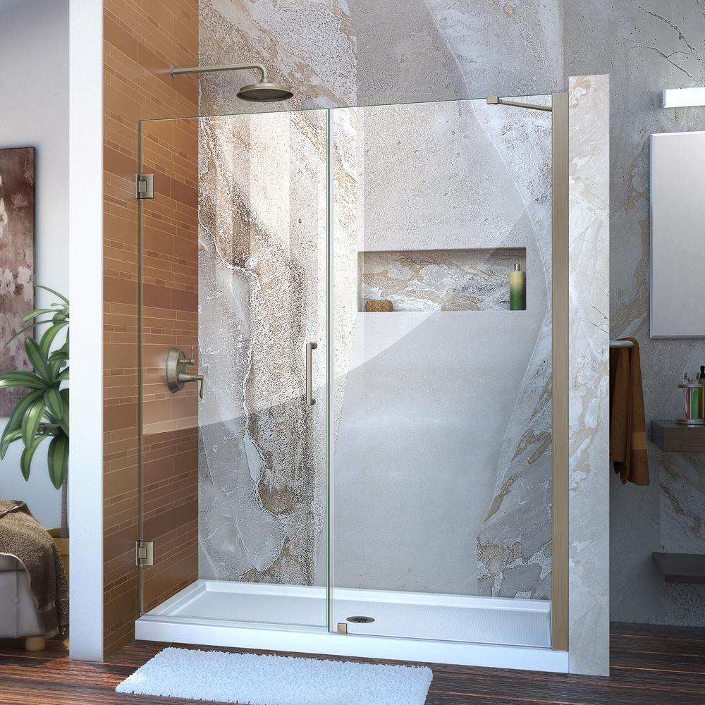 Unidoor 57 to 58 in. x 72 in. Frameless Hinged Pivot Shower Door in Brushed Nickel with Handle