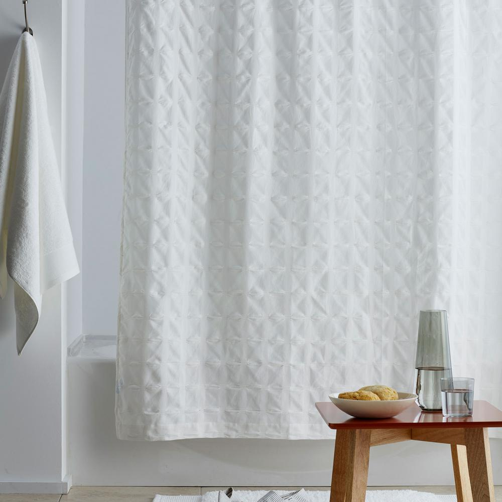 Organic Cotton 72 in. White Shower Curtain