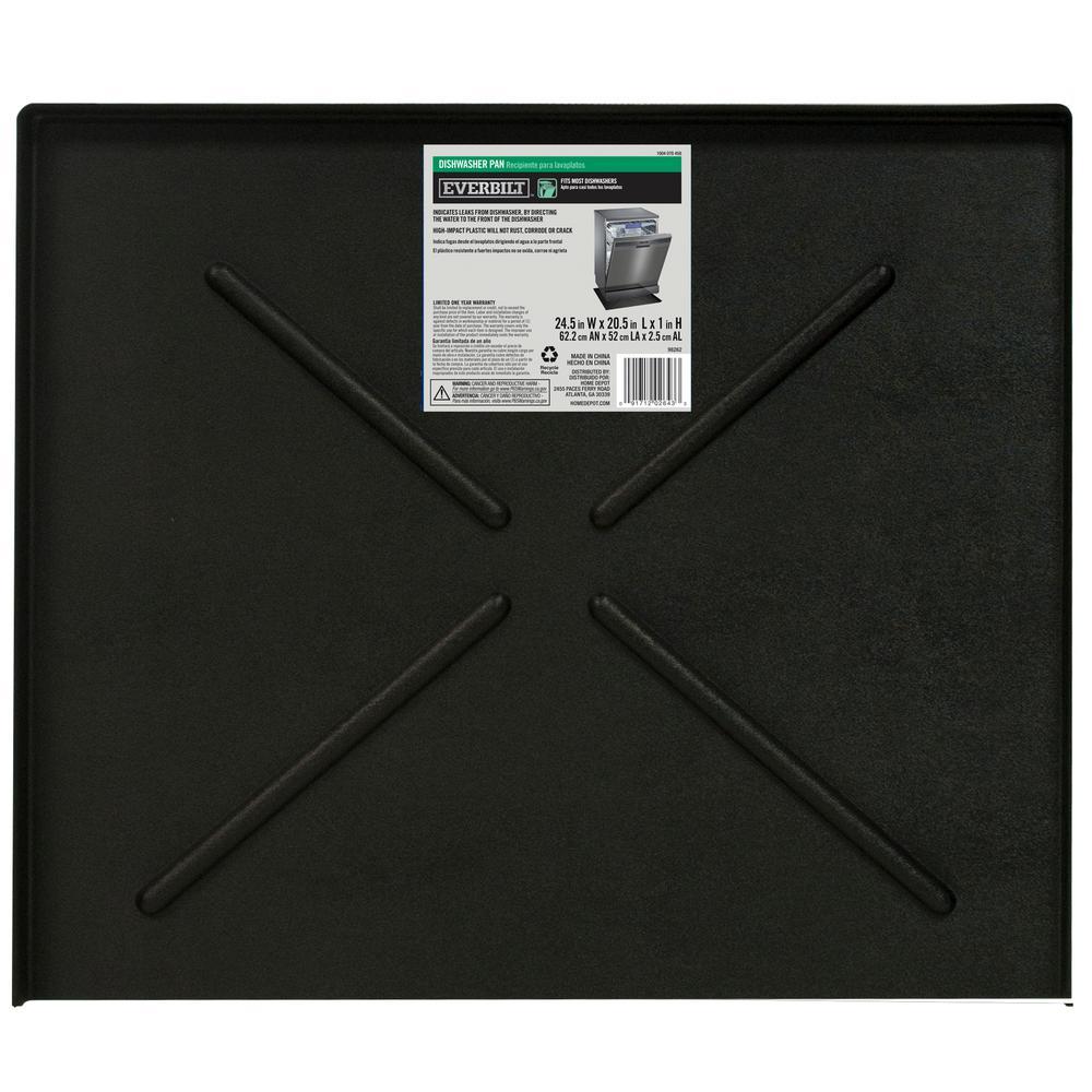 24.5 in. x 20.5 in. Black Dishwasher Pan