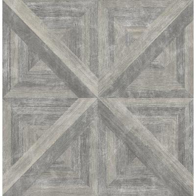Angeline Taupe Geometric Wood Wallpaper