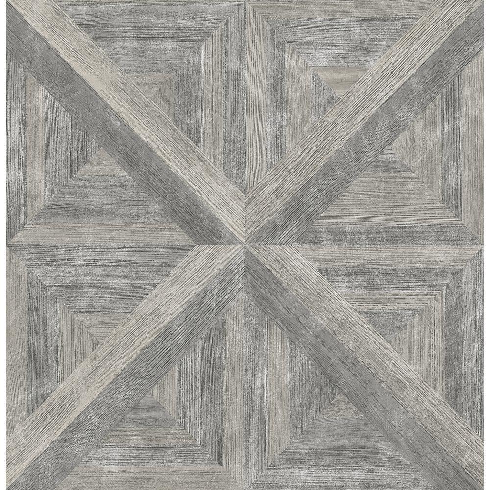 Angeline Taupe Geometric Wood Wallpaper Sample