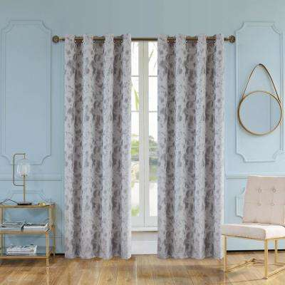 Skye 95 in. L x 54 in. W Semi-Opaque Room Darkening Polyester Curtain in Grey