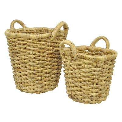 18.75 in. x 18.75 in. Baskets-Natural in Brown (Set of 2)