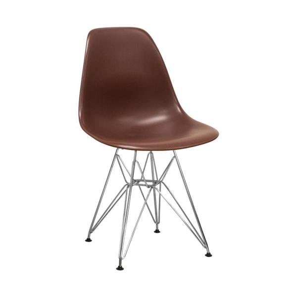 Mod Made Paris Tower Chocolate Dining Side Chair with Chrome Legs