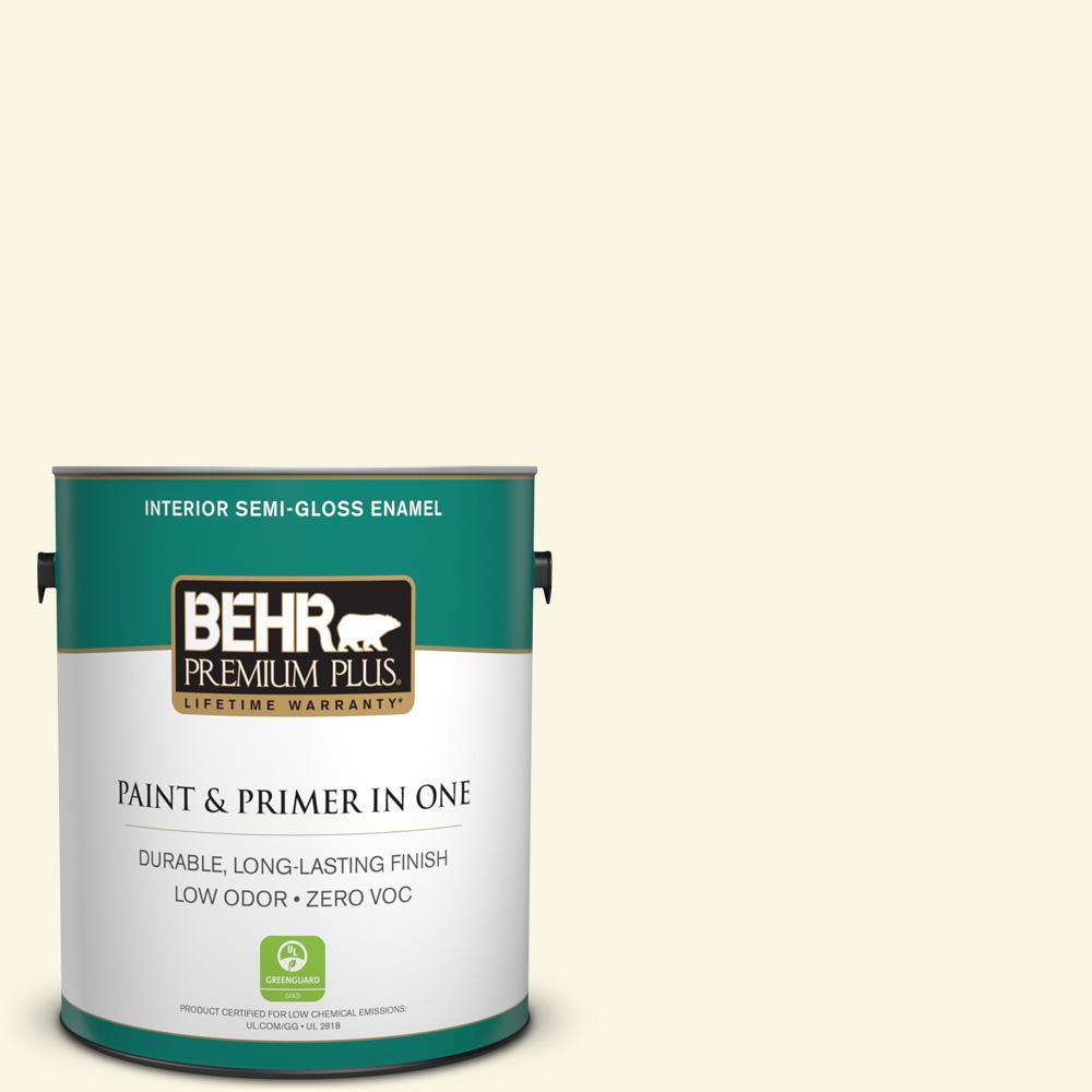 BEHR Premium Plus 1-gal. #P300-1 Lemon White Semi-Gloss Enamel Interior Paint